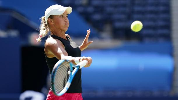 Putintseva hits a forehand during her fourth Round upset of Petra Martic/Photo: Darren Carroll/USTA