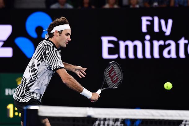 Roger Federer in azione oggi a Melbourne. Fonte: Ben Solomon/Tennis Australia