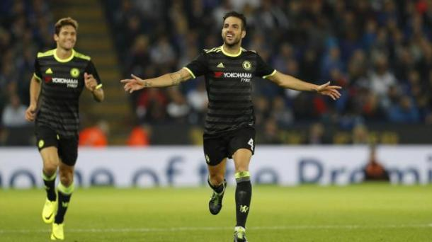 Cesc Fabregas celebrates his second goal at the King Power Stadium on Tuesday evening | Photo: Getty
