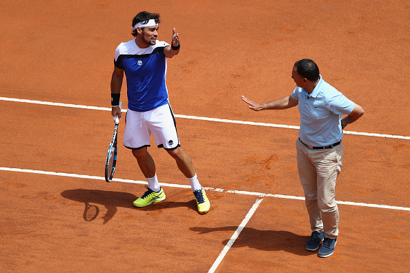 Fognini and Lahyani had a disagreement about the umpire's call which was correct (Photo by Filippo Montforte / Getty Images)