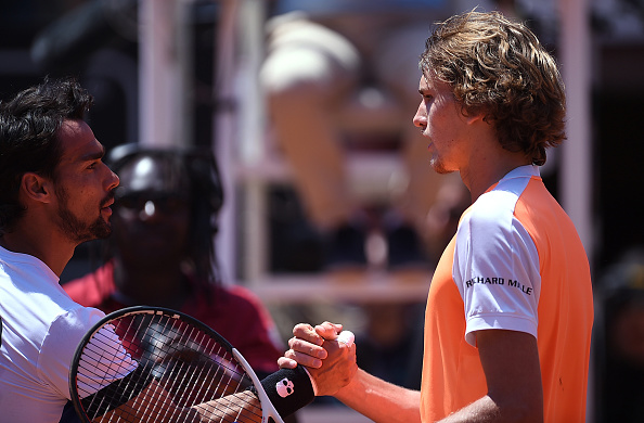The duo shook hands at the net following a good performance by Zverev (Photo by Filippo Montforte / Getty Images)