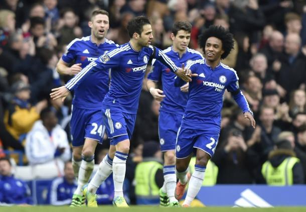 Fabregas celebrates his equalising penalty against the Hammers (photo: Getty Images)