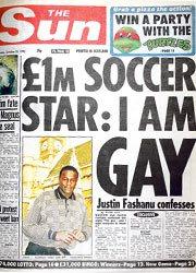 Reprodução da capa do The Sun com a história de Justin Fashanu