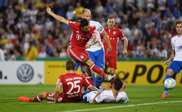 Robert Lewandowski doing what Robert Lewandowski does.   Photo: FC Bayern Munich