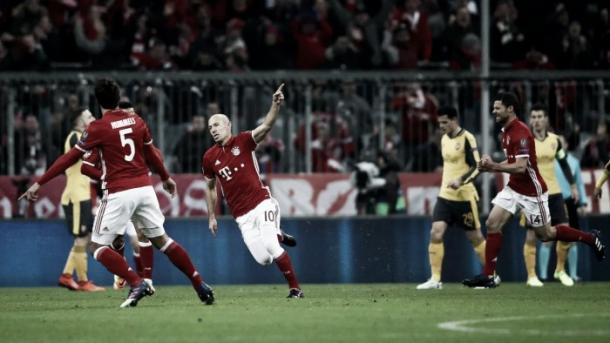 Robben celebra un gol frente al Arsenal. Foto: Getty Images