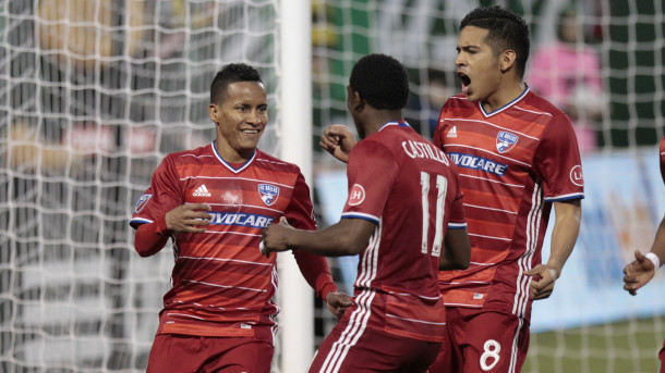 FC Dallas celebrating the 2-1 victory over Sporting Kansas City on Sunday at Toyota Stadium. Photo provided by AP Photo.