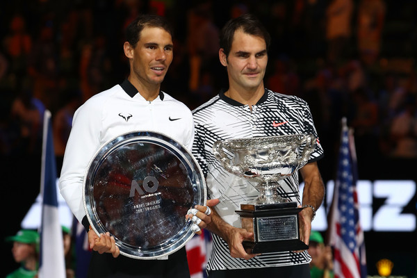 Nadal (left) lost his third Australian Open final to Federer (right) in a five-set battle (Photo by Clive Brunskill / Getty)