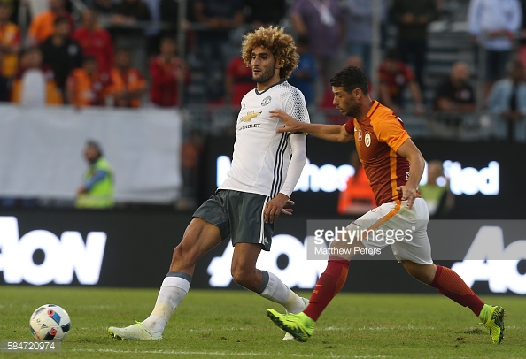 GOTHENBURG, SWEDEN - JULY 30: Marouane Fellaini of Manchester United in action during the pre-season friendly match between Manchester United and Galatasaray at Ullevi on July 30, 2016 in Gothenburg, Sweden. (Photo by Matthew Peters/Man Utd via Getty Images)