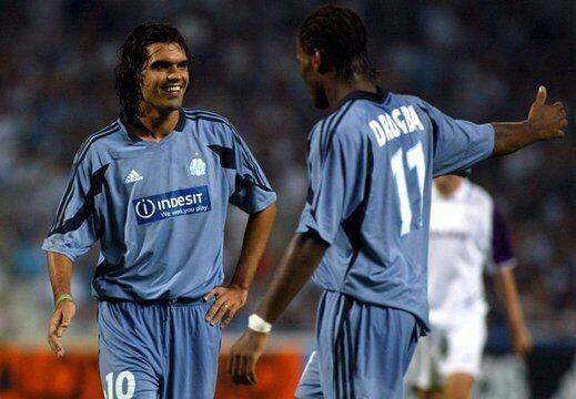 Fernandão e Didier Drogba no Marseille (Foto: Reprodução/OM)