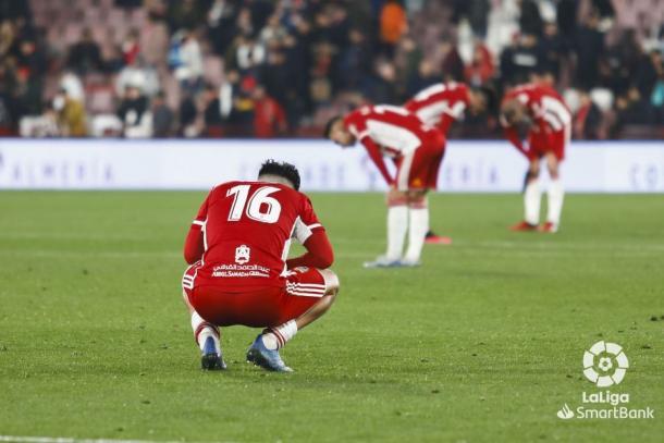 Imagen de los jugadores tras la derrota frente al Racing | Fuente: La Liga