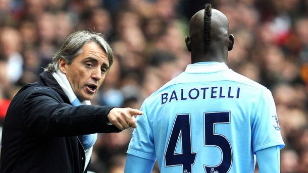 Roberto Mancini y Mario Balotelli durante sus etapas en el Manchester City. / Foto: gettyimages