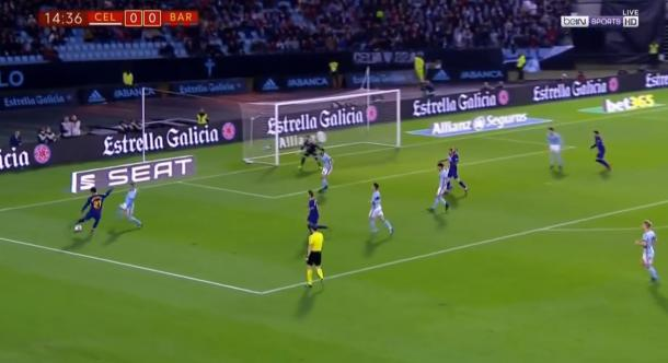 Momento del pase de André Gomes a José Arnáiz en el 0-1 | Foto: Guille de Marcos / Bein Sports