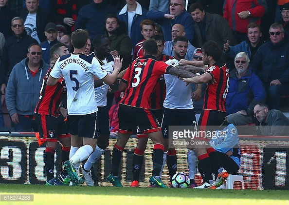 Tempers boiled over after an elbow on Harry Arter (Photo: Getty Images / Charlie Crowhurts)