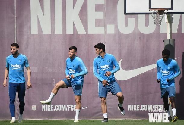 Abel Ruiz junto a Carles Pérez, Carles Aleñá y Moussa Wague. FOTO: Noelia Déniz