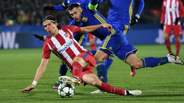 Filipe Luis in azione nel match d'andata.   Fonte immagine: Goal UK