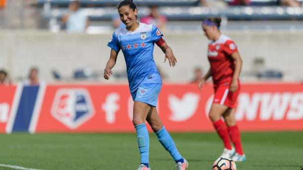 Red Stars' captain, Christen Press, all smiles after equalizing from the penalty spot. l Photo: Daniel Bartel/ isiphotos.com