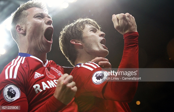 Viktor Fischer celebrates fellow new face de Roon's goal v Manchester City | Photo: GettyImages/