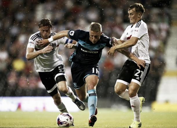 New signing Viktor Fischer fights against the Fulham defense in Boro's 2-1 defeat in the EFL | Photo: Getty