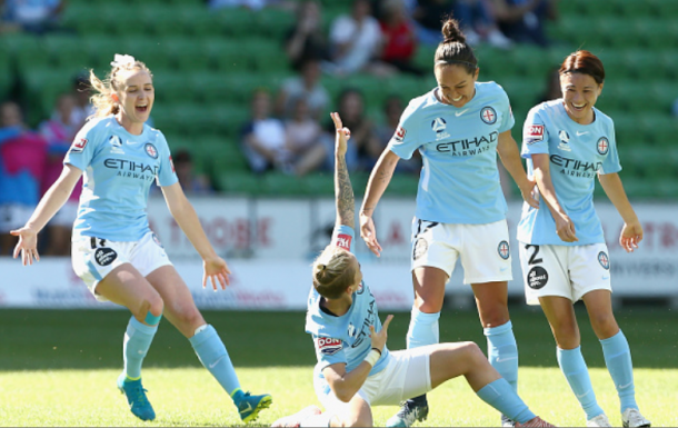 Melbourne City FC midfielder Jess Fishlock enjoys her second goal of the game in the 2-1 win over Canberra United. | Photo: Robert Prezioso - Getty Images