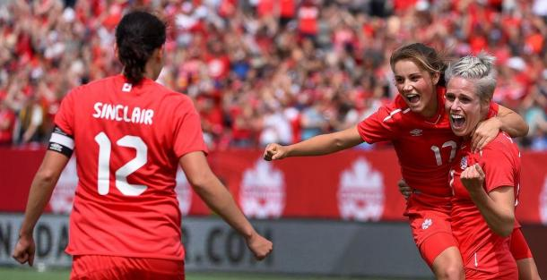 Christine Sinclair, Jessie Fleming, and Sophie Schmidt l Source: The Star