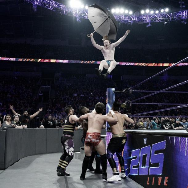 Gallagher went flying. Photo-WWE.com
