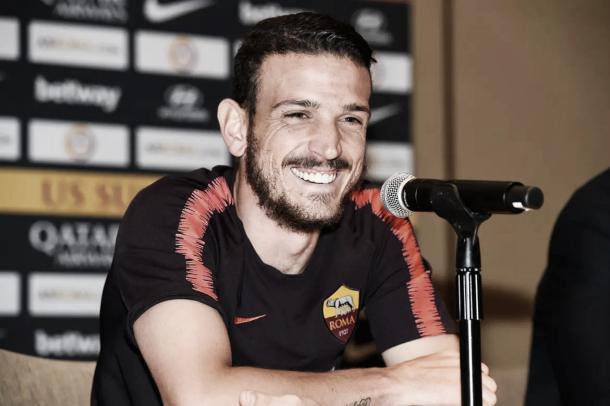 Florenzi, durante la renovación de su contrato   Foto: AS Roma