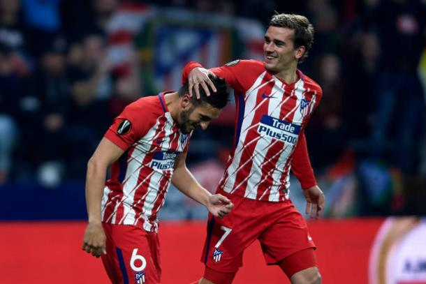 Koke e Griezmann colocaram os colchoneros na frente | Foto: Quality Sports Images/Getty Images