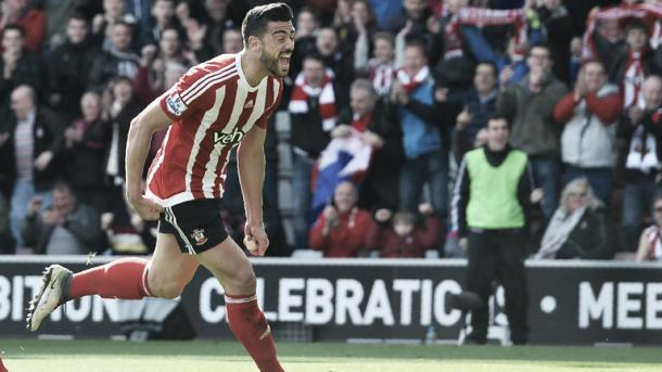Southampton striker Graziano Pelle celebrates after scoring against Newcastle at St Mary's Stadium. | Photo: Getty Images