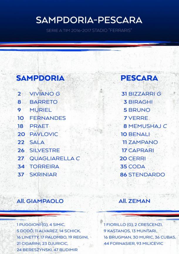 Le formazioni ufficiali, twitter @sampdoria