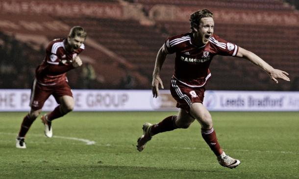 Forshaw celebrates scoring the winner against Reading | Photo: Richard Lee/BPI/Rex/Shutterstock