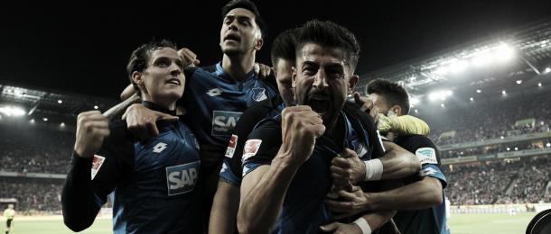 Celebración del gol que aseguro el puesto en la Champions League   Foto: Página oficial TSG Hoffenheim