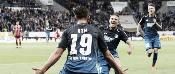 Celebración entre Uth y Kramaric   Foto: Página Oficial TSG Hoffenheim
