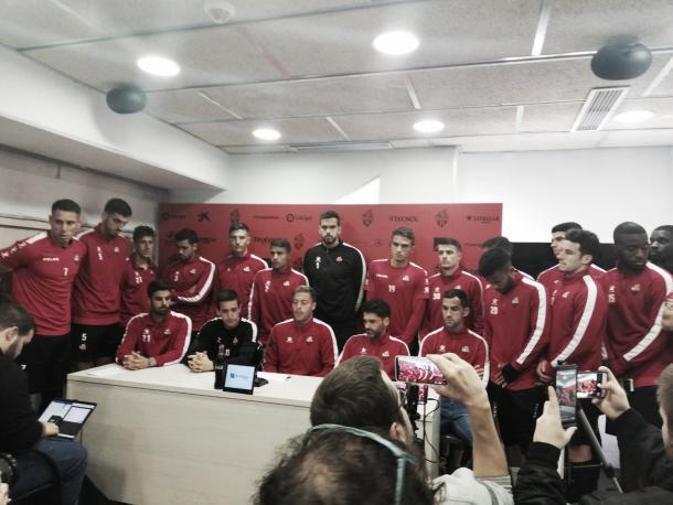 Los jugadores del CF Reus han comparecido unidos en rueda de prensa | Foto: Ramon Tella