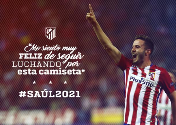 Saúl é do Atléti até 2021 (Foto: Divulgação/Atlético de Madrid)