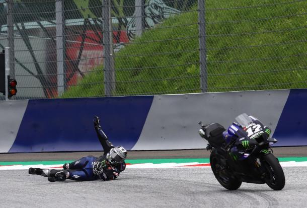 Viñales se tiró a 218 km/h de su Yamaha. Imagen: MotoGP