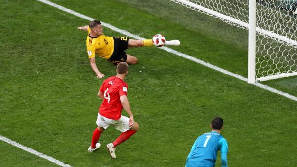 Toby Alderweireld had one of the best defensive saves the tournament has produced so far | Source: Getty Images via FIFA.com