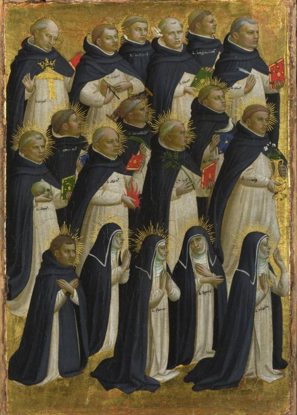 Dieciocho beatos dominicos. Tablas del retablo mayor de San Domenico en Fiésole, Fra Angelico (1421-1422). The National Gallery.