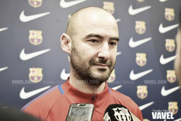 Fran Sánchez, técnico del conjunto azulgrana, en rueda de prensa | Foto de Noelia Déniz, VAVEL