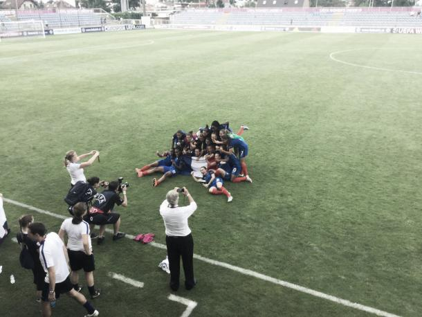 France celebrate reaching the Final. Photo: Twitter (@UEFAWomensEURO)