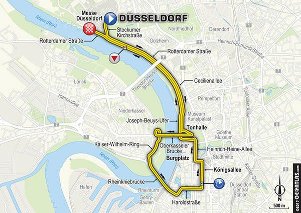 La planimetria della cronometro, di 14 km da percorrere per le strade di Dusseldorf, accanto al Fiume Reno. Fonte foto: letour.fr