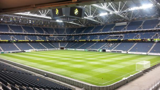 Leicester meet Barcelona at the impressive Friends Arena in Stockholm, home of AIK and hosts of next season's Europa League final (Source: SIS Pitches)