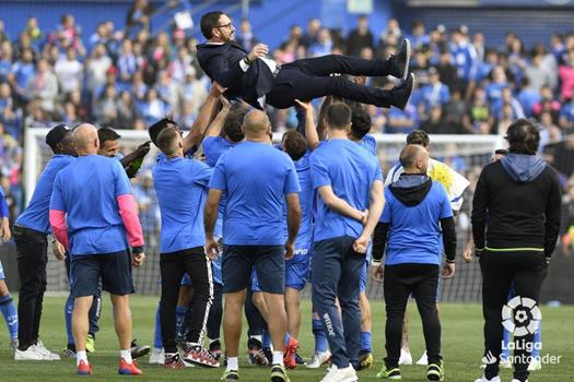 El Getafe celebra la gran temporada realizada el curso anterior. Fuente: La Liga