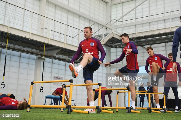 Dael Fry trains with (R to L) Wayne Rooney, Michael Keane and John Stones last week | Photo: Getty