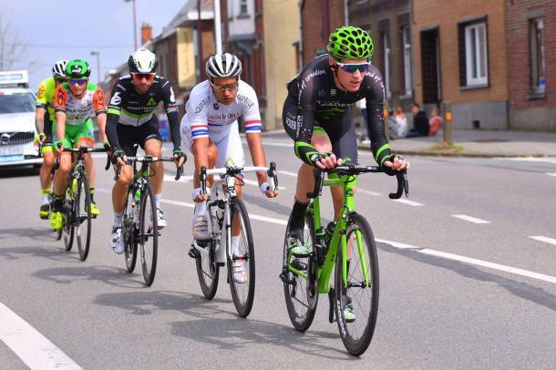 Zakkari Demspter encabeza la fuga | Foto: Israel Cycling Academy