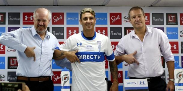 Juan Tagle (left), Fernando Zampedri (centre) and José María Buljubasich (right) at Fernando's presentation as a reinforcement of the Universidad Católica / Photo: Sin Mordaza
