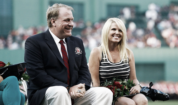 Schilling and his wife before being inducted into the Red Sox Hall of Fame. (Source: Jared Wickerham/Getty Images North America)