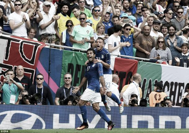Above: Emanuele Giaccherini celebrating with Eder in Italy's 1-0 win over Sweden | Photo: EPA