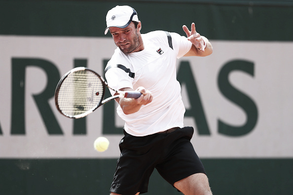 Teymuraz Gabashvili sprays a forehand in his second round match at the 2016 French Open. (Photo: Getty Images)