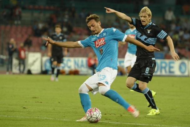 Manolo Gabbiadini, a segno lo scorso anno nel 5-1 del Napoli contro la Lazio - Foto Getty Images