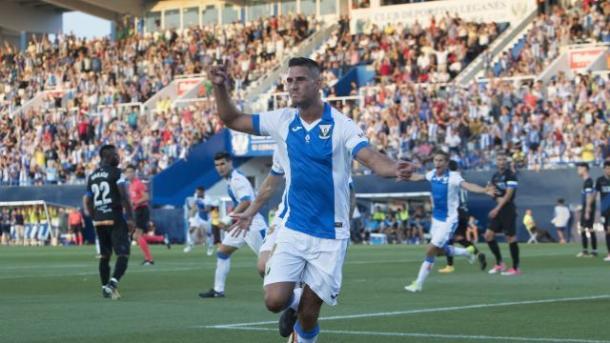 Gabriel celebra su gol ante el Alavés. Foto: La Liga